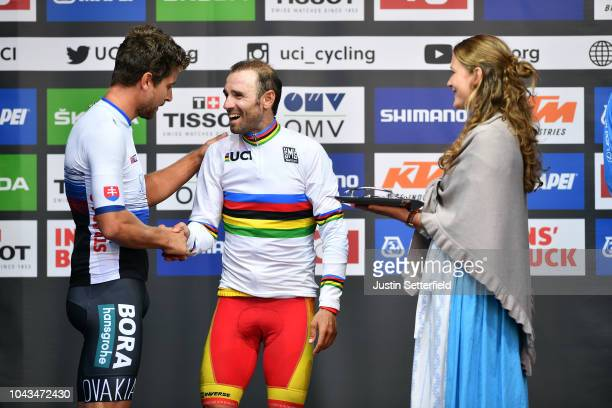 Podium / Peter Sagan of Slovakia / Alejandro Valverde of Spain / Celebration / during the Men Elite Road Race a 2585km race from Kufstein to...