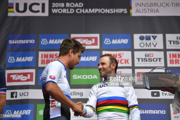 Podium / Peter Sagan of Slovakia / Alejandro Valverde of Spain Gold Medal / Celebration / during the Men Elite Road Race a 2585km race from Kufstein...