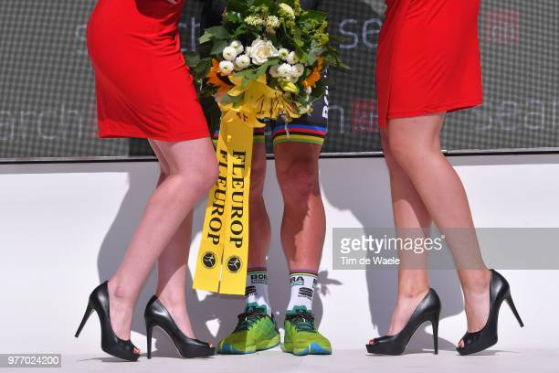 Podium / Peter Sagan of Slovakia and Team Bora Hansgrohe Black Points Jersey / Celebration / Illustration / Legs / Miss / Hostess / during the 82nd...
