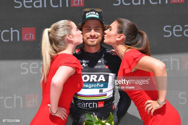 Podium / Peter Sagan of Slovakia and Team Bora Hansgrohe Black Points Jersey / Celebration / during the 82nd Tour of Switzerland 2018 Stage 9 a 341km...