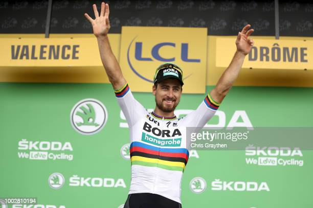 Podium / Peter Sagan of Slovakia and Team Bora Hansgrohe / Celebration / during the 105th Tour de France 2018 Stage 13 a 1695km stage from Bourg...