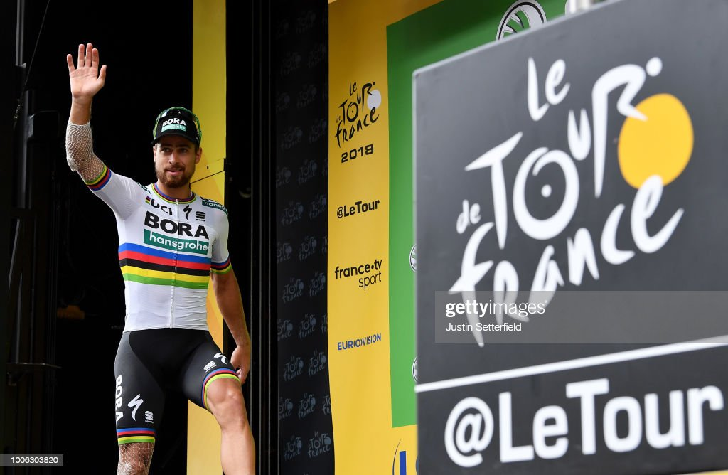 Podium / Peter Sagan of Slovakia and Team Bora Hansgrohe / Celebration / during the 105th Tour de France 2018, Stage 19 a 200,5km stage from Lourdes to Laruns / TDF / on July 27, 2018 in Laruns, France.