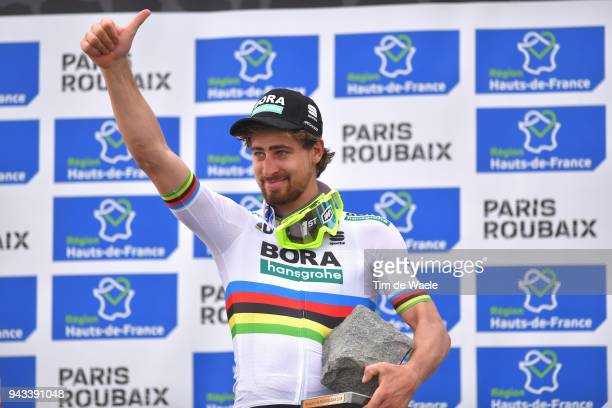 Podium / Peter Sagan of Slovakia and Team Bora Hansgrohe / Celebration / Trophy / during the 116th Paris Roubaix 2018 a 257km race from Compiegne to...