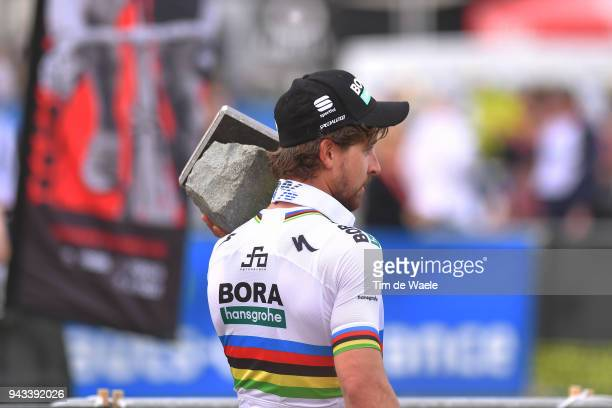 Podium / Peter Sagan of Slovakia and Team Bora - Hansgrohe / Celebration / Trophy / during the 116th Paris - Roubaix 2018 a 257km race from Compiegne...