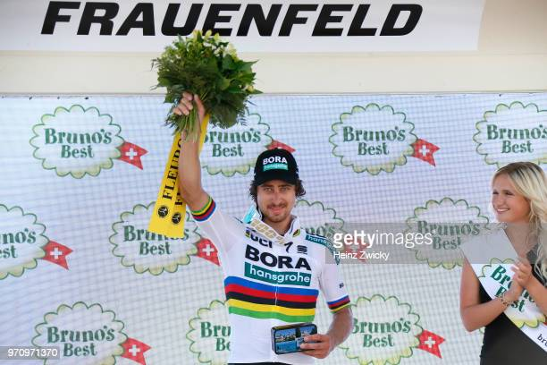 Podium / Peter Sagan of Slovakia and Team Bora - Hansgrohe / Celebration / during the 82nd Tour of Switzerland 2018, Stage 2 a 155km stage from...