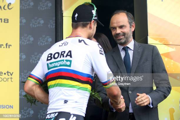 Podium / Peter Sagan of Slovakia and Team Bora Hansgrohe / Edouard Philippe of France, French Prime Minister / Celebration / during the 105th Tour de...
