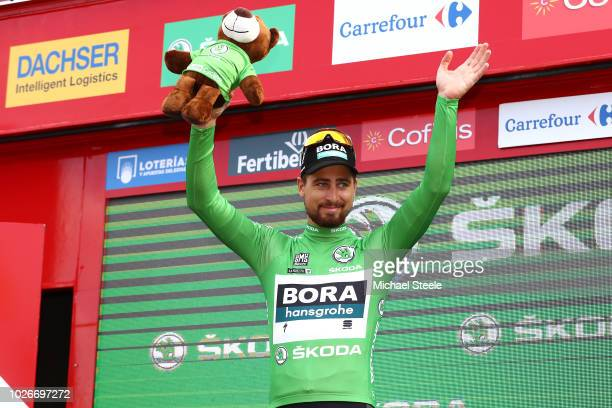Podium / Peter Sagan of Slovakia and Team Bora Hansgrohe Green Points Jersey / Celebration / during the 73rd Tour of Spain 2018 Stage 10 a 177km...