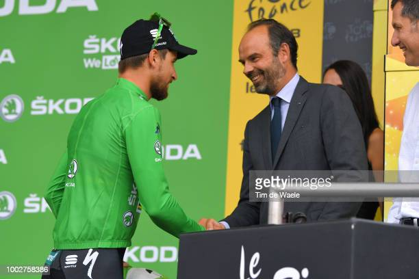 Podium / Peter Sagan of Slovakia and Team Bora Hansgrohe Green Sprint Jersey / Edouard Philippe of France, French Prime Minister / Celebration /...