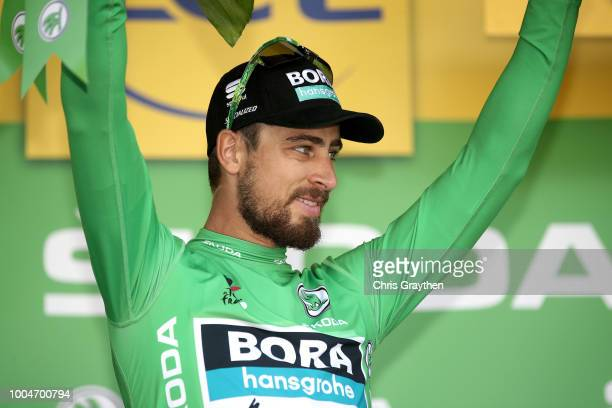 Podium / Peter Sagan of Slovakia and Team Bora Hansgrohe Green Sprint Jersey / Celebration / during the 105th Tour de France 2018 Stage 16 a 218km...
