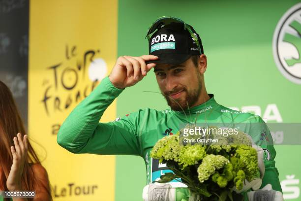 Podium / Peter Sagan of Slovakia and Team Bora Hansgrohe Green Sprint Jersey / Celebration / during the 105th Tour de France 2018, Stage 18 a 171km...