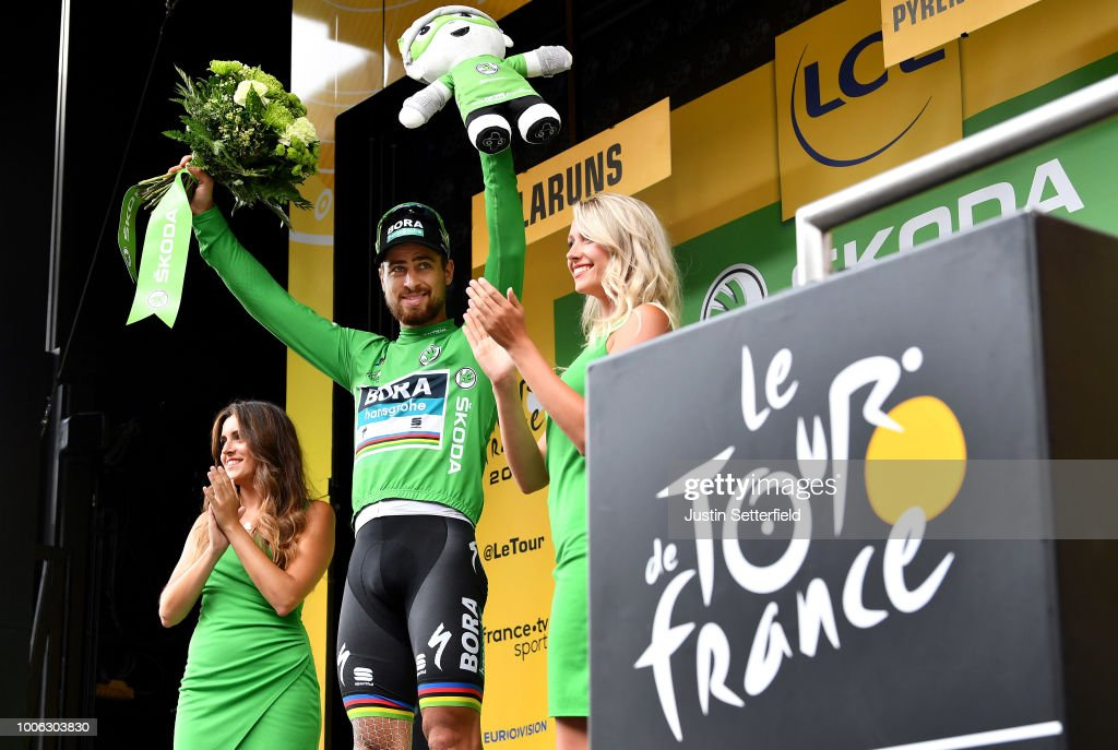 Podium / Peter Sagan of Slovakia and Team Bora Hansgrohe Green Sprint Jersey / Celebration / during the 105th Tour de France 2018, Stage 19 a 200,5km stage from Lourdes to Laruns / TDF / on July 27, 2018 in Laruns, France.