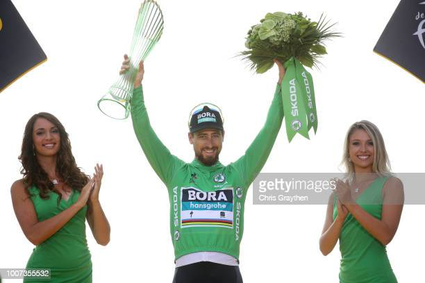 Podium / Peter Sagan of Slovakia and Team Bora Hansgrohe Green Sprint Jersey Celebration / during the 105th Tour de France 2018, Stage 21 a 116km...