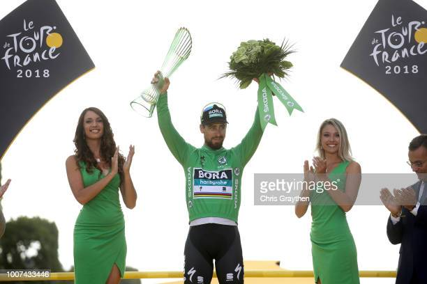 Podium / Peter Sagan of Slovakia and Team Bora Hansgrohe Green Sprint Jersey / Celebration / Trophy / during the 105th Tour de France 2018 Stage 21 a...