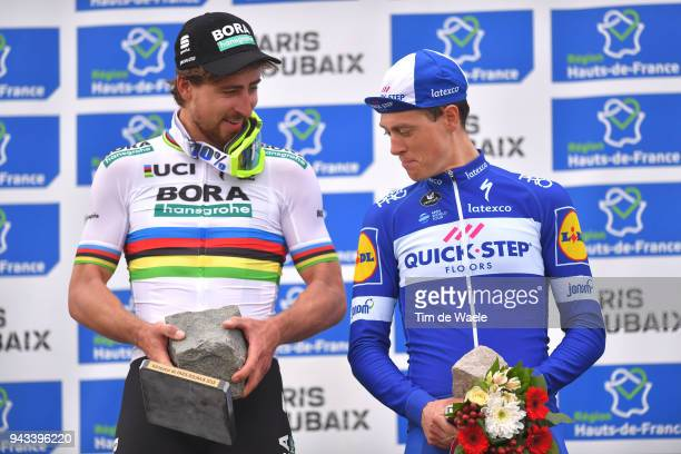 Podium / Peter Sagan of Slovakia and Team Bora Hansgrohe / Niki Terpstra of The Netherlands and Team QuickStep Floors / Celebration / Trophy / during...