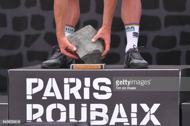 Podium / Peter Sagan of Slovakia and Team Bora Hansgrohe / Trophy / during the 116th Paris to Roubaix 2018 a 257km race from Compiegne to Roubaix on...
