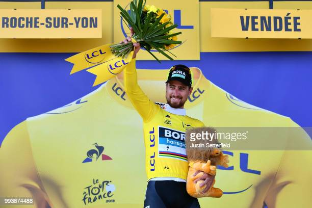 Podium / Peter Sagan of Slovakia and Team Bora Hansgrohe Yellow Leader Jersey / Celebration / during the 105th Tour de France 2018 Stage 2 a 1825km...