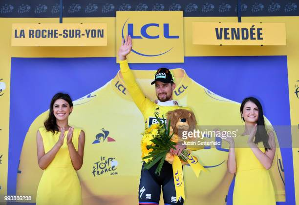 Podium / Peter Sagan of Slovakia and Team Bora Hansgrohe Yellow Leader Jersey / Celebration / during the 105th Tour de France 2018, Stage 2 a 182,5km...