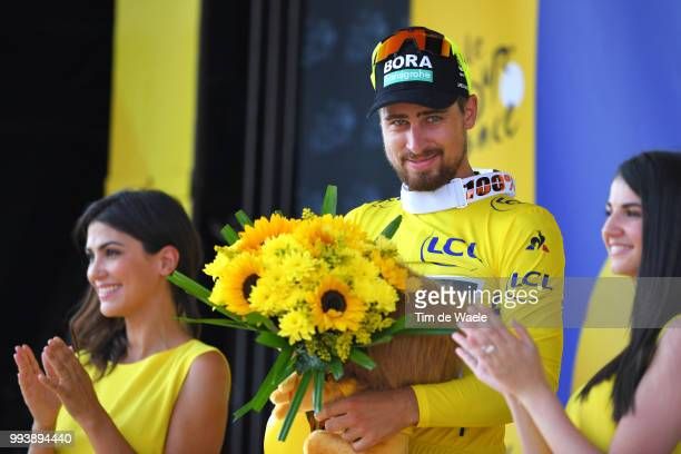 Podium / Peter Sagan of Slovakia and Team Bora Hansgrohe Yellow Leader Jersey Celebration / during the 105th Tour de France 2018, Stage 2 a 182,5km...