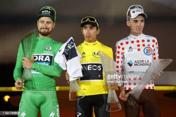 Podium / Peter Sagan of Slovakia and Team BoraHansgrohe Green Sprint Jersey / Egan Bernal of Colombia and Team INEOS Yellow Leader Jersey / Romain...