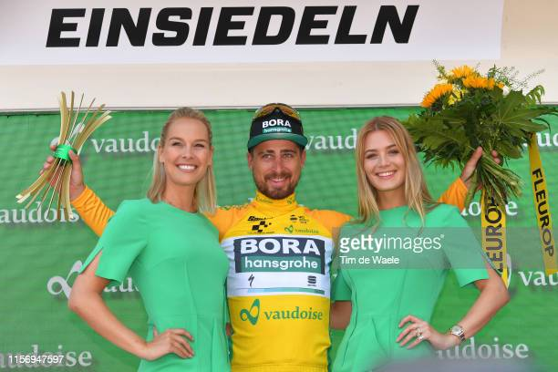 Podium / Peter Sagan of Slovakia and Team BoraHansgrohe Yellow Leader Jersey / Celebration / Miss / Hostess / Trophy / Flowers / during the 83rd Tour...