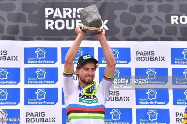Podium / Peter Sagan of Slowakia and Team Bora-Hansgrohe / Celebration / Trophy / during the 116th Paris - Roubaix 2018 a 257km race from Compiegne...