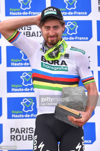 Podium / Peter Sagan of Slowakia and Team BoraHansgrohe / Celebration / Trophy / during the 116th Paris Roubaix 2018 a 257km race from Compiegne to...