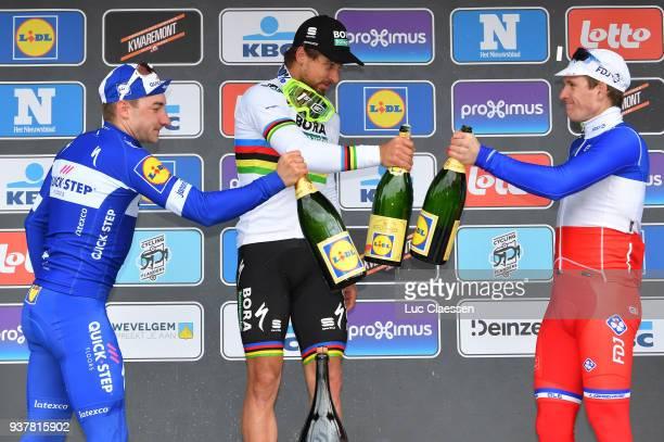 Podium / Peter Sagan of Slowakia Celebration / Champagne / Elia Viviani of Italy/ Arnaud Demare of France/ during the 80th GentWevelgem In Flanders...