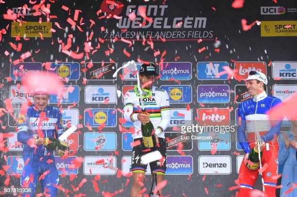 Podium / Peter Sagan of Slowakia Celebration / Champagne / Elia Viviani of Italy/ Arnaud Demare of France/ during the 80th GentWevelgem In Flanders...