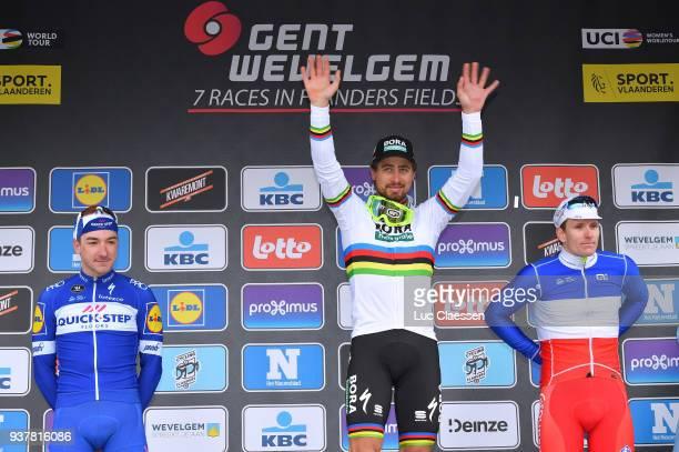 Podium / Peter Sagan of Slowakia Celebration/ Elia Viviani of Italy/ Arnaud Demare of France/ during the 80th GentWevelgem In Flanders Fields 2018 a...