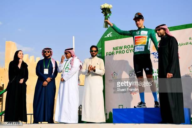 Podium / Phil Bauhaus of Germany and Team Bahrain-Mclaren Green Leader Jersey / Celebration / Sabah Al-Kraidees of Saudi Arabia chairman of the Saudi...