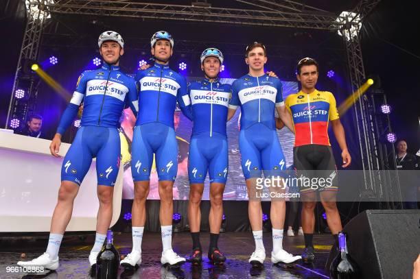 Podium / Philippe Gilbert of Belgium / Alvaro Jose Hodeg Chagui of Colombia / Yves Lampaert of Belgium / Davide Martinelli of Italy / Jhonatan...