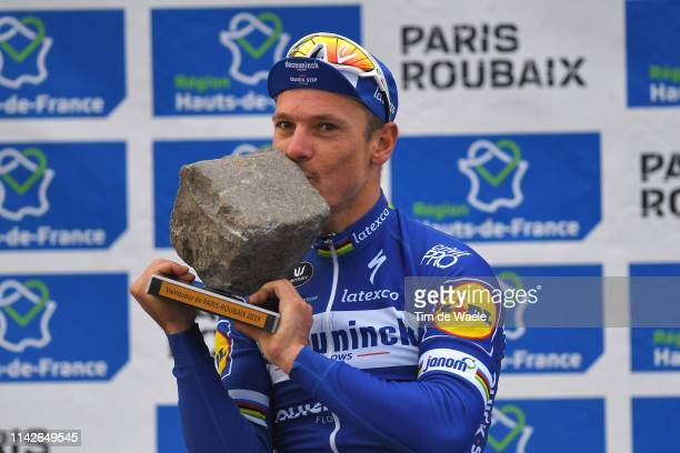 Podium / Philippe Gilbert of Belgium and Team Deceuninck-QuickStep / Celebration / Trophy / during the 117th Paris-Roubaix a 257km race from...