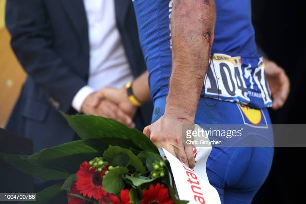 Podium / Philippe Gilbert of Belgium and Team Quick-Step Floors Most combative rider / Celebration / Injury / Detail view / during the 105th Tour de...