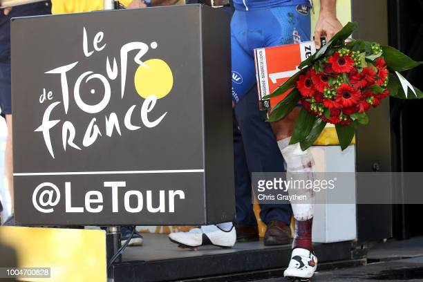 Podium / Philippe Gilbert of Belgium and Team Quick-Step Floors Most combative rider / Celebration / Injury / Legs / Detail view / during the 105th...