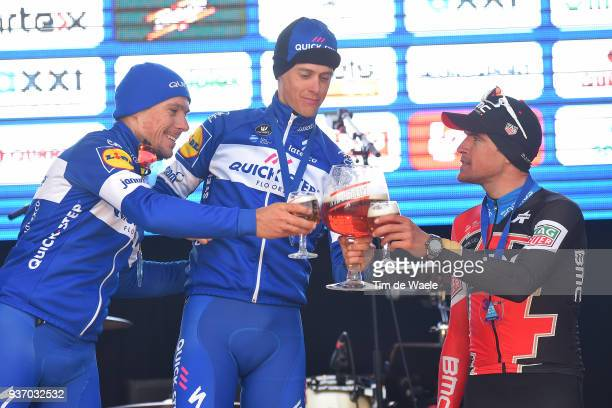 Podium / Philippe Gilbert of Belgium and Team QuickStep Floors / Niki Terpstra of The Netherlands and Team QuickStep Floors / Greg Van Avermaet of...