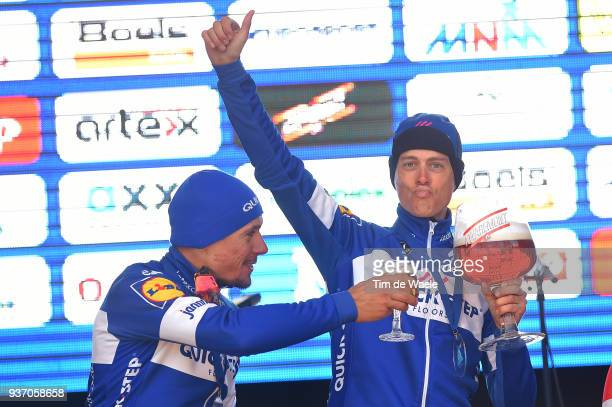 Podium / Philippe Gilbert of Belgium and Team Quick-Step Floors / Niki Terpstra of The Netherlands and Team Quick-Step Floors / Celebration / Beer /...