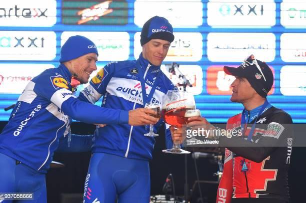 Podium / Philippe Gilbert of Belgium and Team QuickStep Floors / Niki Terpstra of The Netherlands and Team QuickStep Floors / Greg Van Avermaet of...
