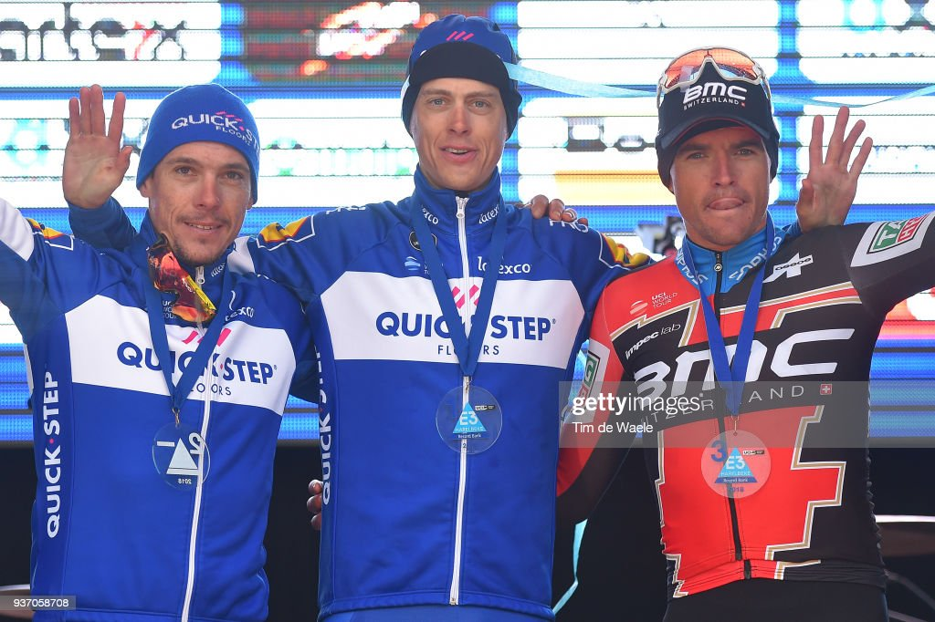 Podium / Philippe Gilbert of Belgium and Team Quick-Step Floors / Niki Terpstra of The Netherlands and Team Quick-Step Floors / Greg Van Avermaet of Belgium and Team BMC Racing Team / Celebration during the 61st E3 Harelbeke 2018 a 206,4km race from Harelbeke to Harelbeke on March 23, 2018 in Harelbeke, Belgium.