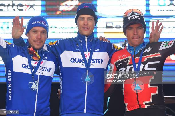 Podium / Philippe Gilbert of Belgium and Team Quick-Step Floors / Niki Terpstra of The Netherlands and Team Quick-Step Floors / Greg Van Avermaet of...