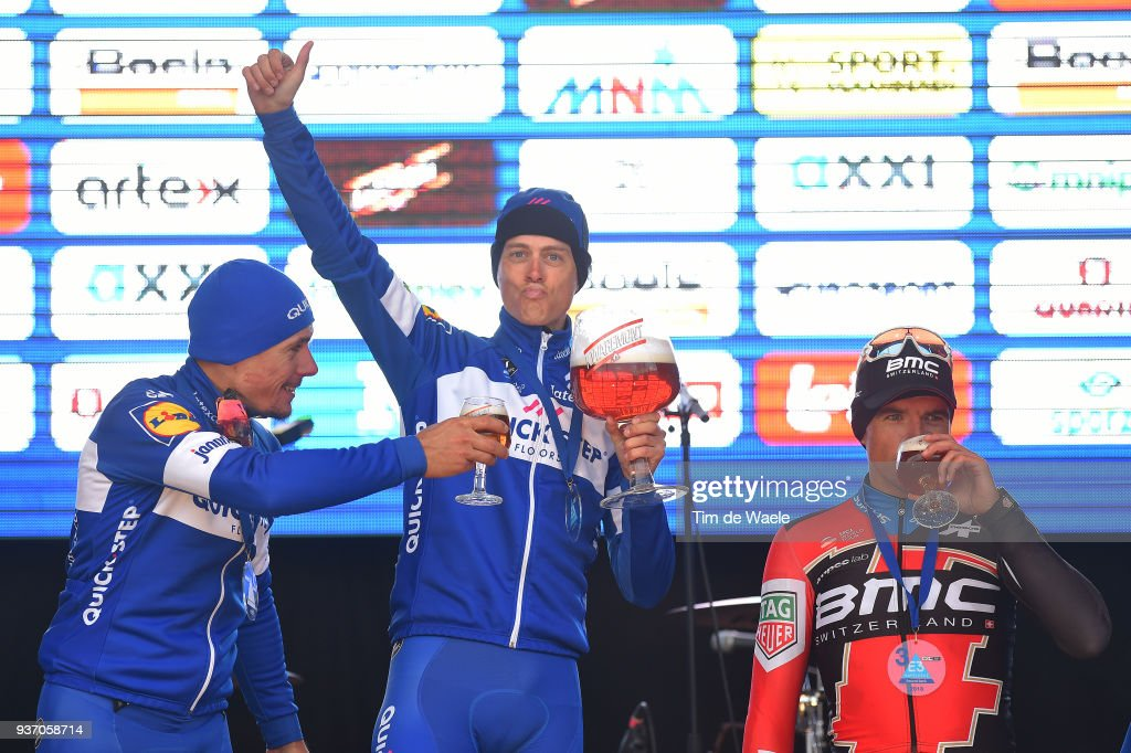 Podium / Philippe Gilbert of Belgium and Team Quick-Step Floors / Niki Terpstra of The Netherlands and Team Quick-Step Floors / Greg Van Avermaet of Belgium and Team BMC Racing Team / Celebration / Beer / during the 61st E3 Harelbeke 2018 a 206,4km race from Harelbeke to Harelbeke on March 23, 2018 in Harelbeke, Belgium.