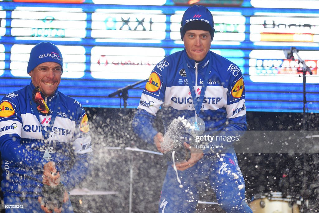 Podium / Philippe Gilbert of Belgium and Team Quick-Step Floors / Niki Terpstra of The Netherlands and Team Quick-Step Floors / Champagne Celebration / during the 61st E3 Harelbeke 2018 a 206,4km race from Harelbeke to Harelbeke on March 23, 2018 in Harelbeke, Belgium.