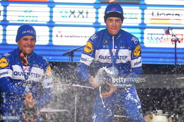 Podium / Philippe Gilbert of Belgium and Team QuickStep Floors / Niki Terpstra of The Netherlands and Team QuickStep Floors / Champagne Celebration /...