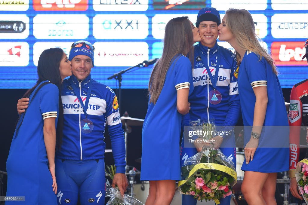 Podium / Philippe Gilbert of Belgium and Team Quick-Step Floors / Niki Terpstra of The Netherlands and Team Quick-Step Floors / Celebration during the 61st E3 Harelbeke 2018 a 206,4km race from Harelbeke to Harelbeke on March 23, 2018 in Harelbeke, Belgium.
