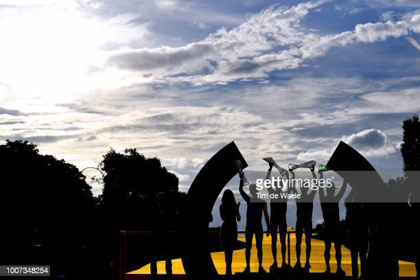 Podium / Pierre Latour of France and Team AG2R La Mondiale Best Young Jersey / Geraint Thomas of Great Britain and Team Sky Yellow Leader Jersey /...