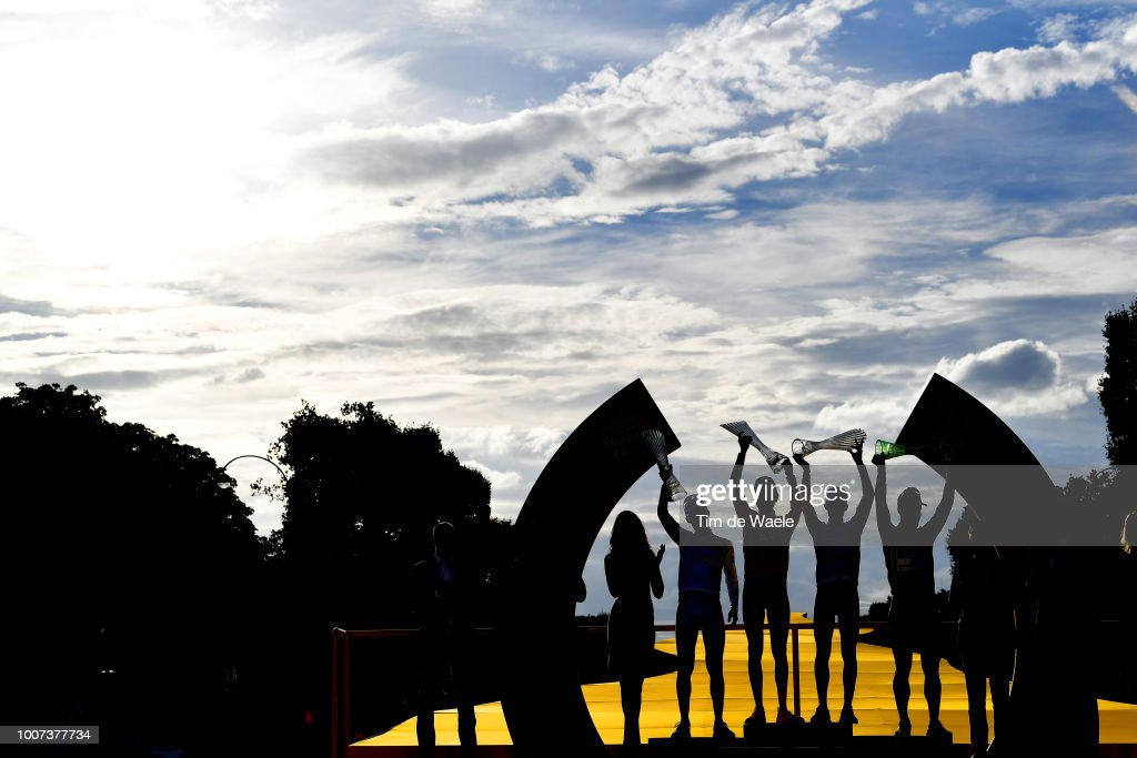 Podium / Pierre Latour of France and Team AG2R La Mondiale Best Young Jersey / Geraint Thomas of Great Britain and Team Sky Yellow Leader Jersey / Julian Alaphilippe of France and Team Quick-Step Floors Polka Dot Mountain Jersey / Peter Sagan of Slovakia and Team Bora Hansgrohe Green Sprint Jersey / Celebration / Trophy / Silhouet / Landscape / during the 105th Tour de France 2018, Stage 21 a 116km stage from Houilles to Paris Champs-Elysees / TDF / on July 29, 2018 in Paris, France.