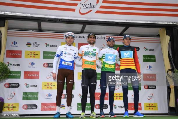 Podium / Pierre Latour of France and Team AG2R La Mondiale Blue Young Jersey / Lluis Guillermo Mas Bonet of Spain and Team Caja Rural-Seguros RGA...