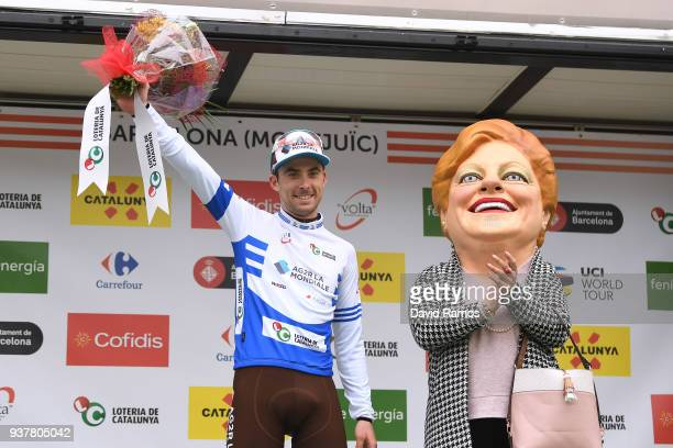 Podium / Pierre Latour of France and Team AG2R La Mondiale Blue Young Jersey / Celebration / during the 98th Volta Ciclista a Catalunya 2018, Stage 7...