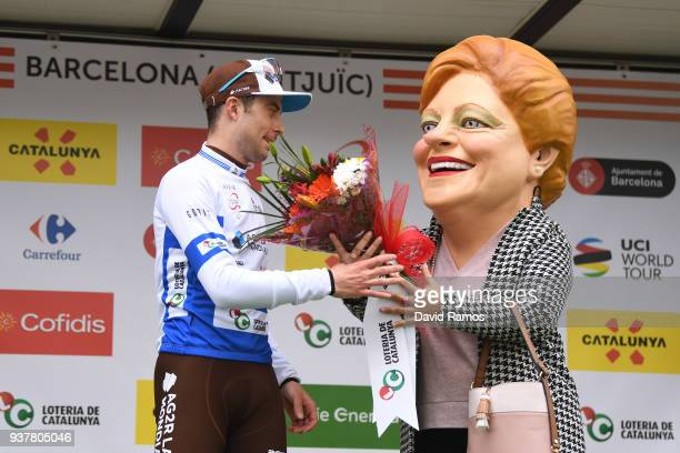 Podium / Pierre Latour of France and Team AG2R La Mondiale Blue Young Jersey / Celebration / during the 98th Volta Ciclista a Catalunya 2018 Stage 7...