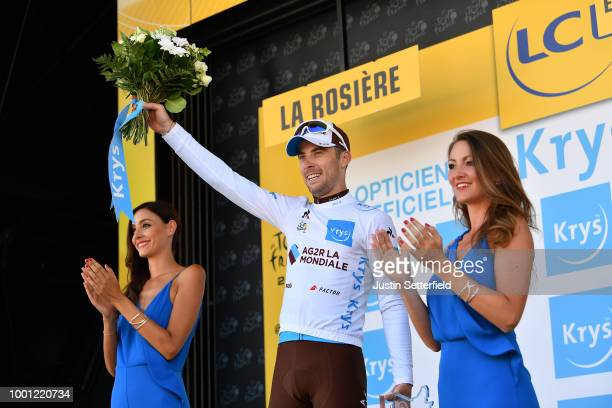 Podium / Pierre Latour of France and Team AG2R La Mondiale / Celebration / during the 105th Tour de France 2018, Stage 11 a 108,5km stage from...