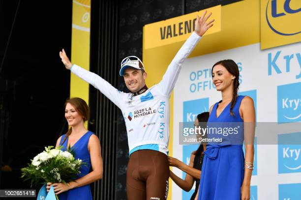 Podium / Pierre Latour of France and Team AG2R La Mondiale White Best Young Jersey / Celebration / during the 105th Tour de France 2018 Stage 13 a...